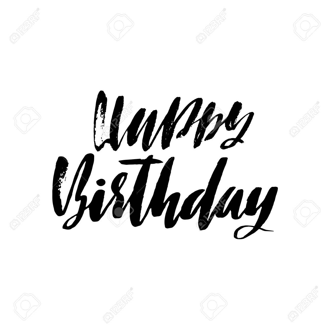 Letras De Feliz Cumpleaños Para Invitaciones Y Tarjetas De Felicitación Grabados Y Pósters Inscripción Manuscrita Diseño Caligráfico Ilustración