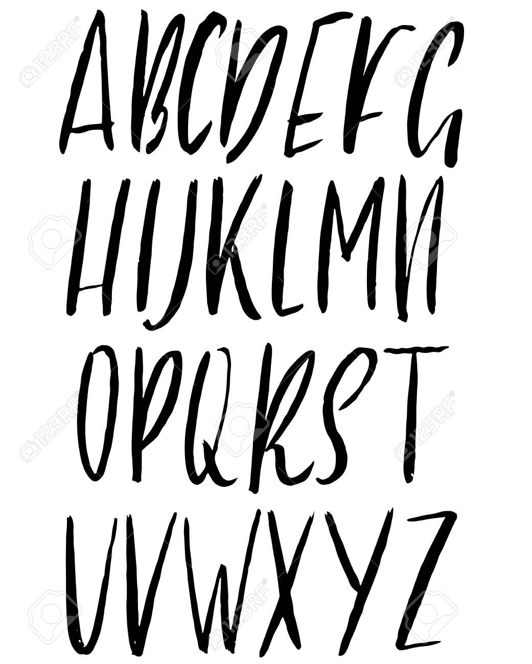 Hand drawn ink simple font  Modern brush lettering  Grunge style