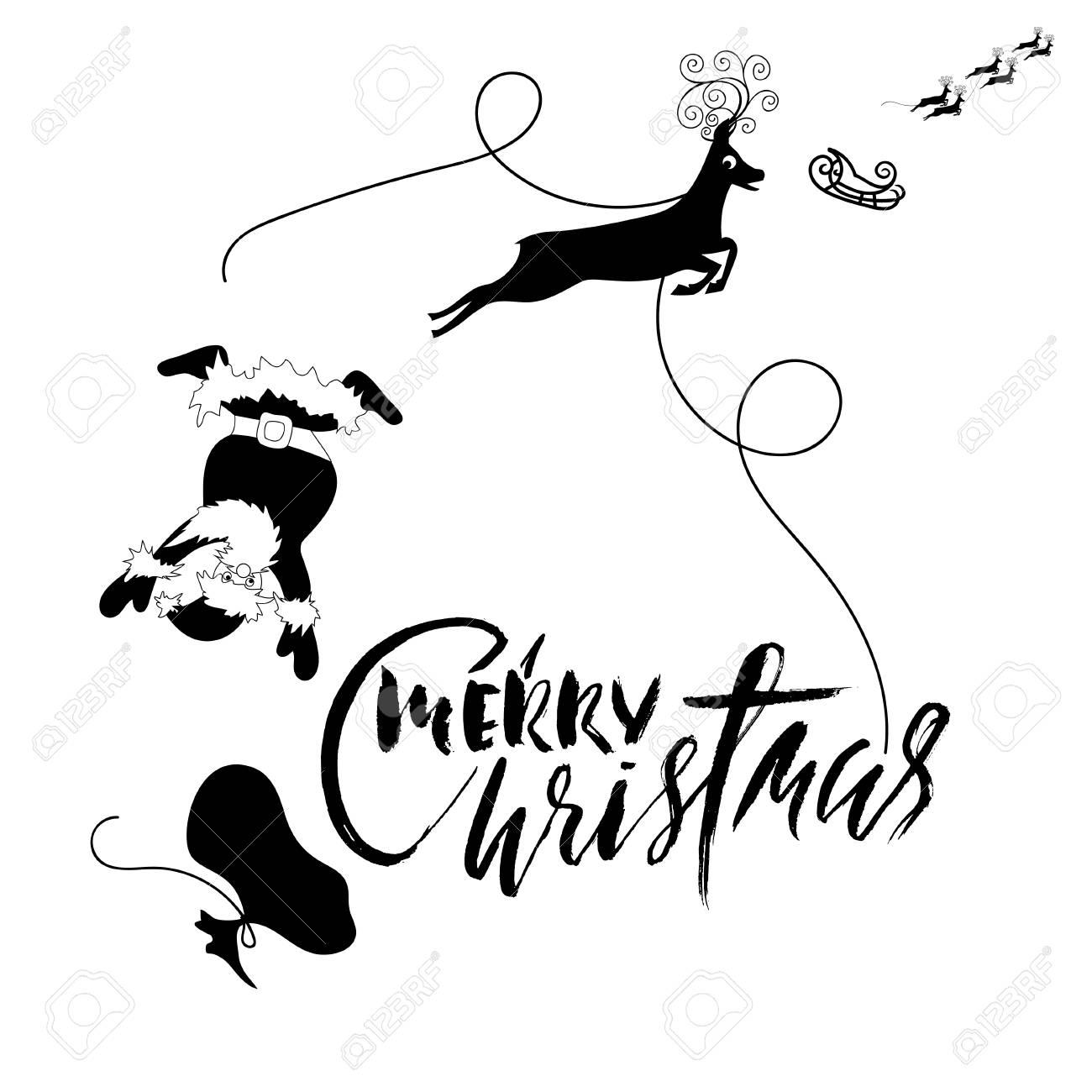Le Père Noël Tombe De Traîneau Avec Harnais Sur Le Renne Illustration Vectorielle Noir Et Blanc Lettrage De Noël