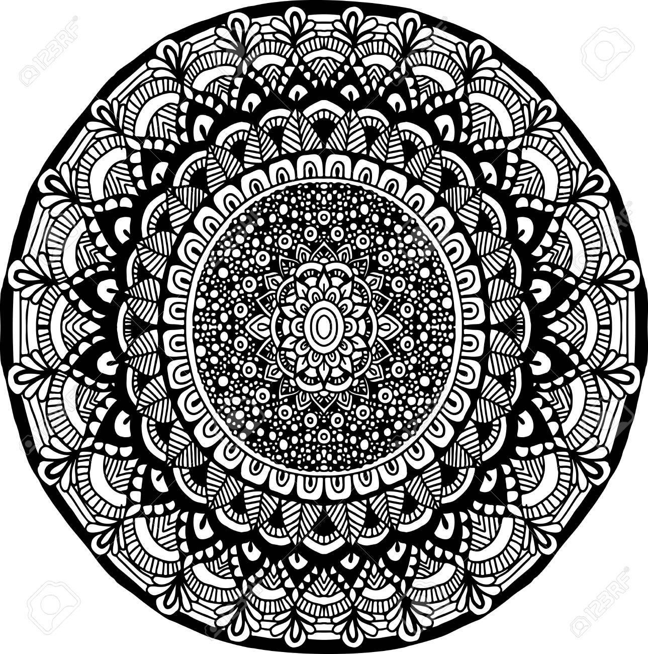 Coloriage Adulte Fond Noir.Ornement De Mandala Abstraite Pour Livres A Colorier Pour Adultes