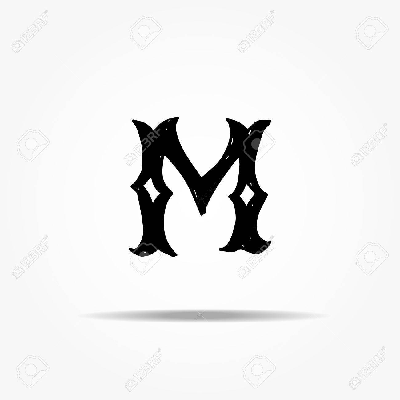 Antique Letter M Gothic Font Stock Vector