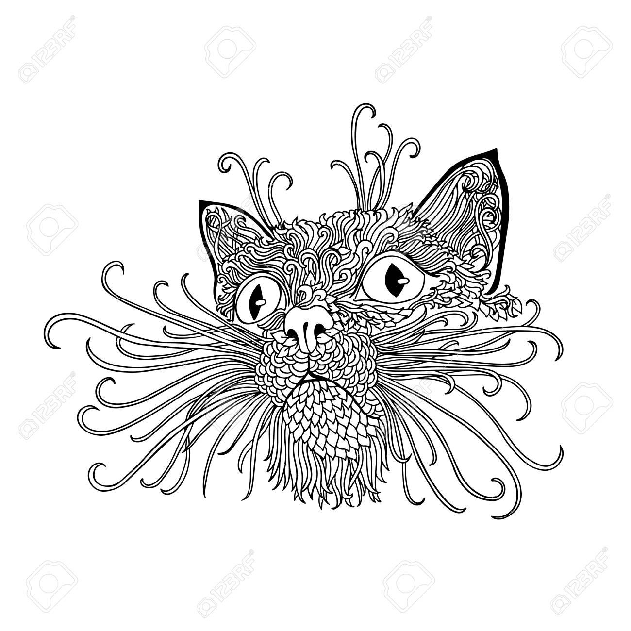 Gato Negro Y Blanco Con Adornos Florales étnicos Para El Libro Para ...