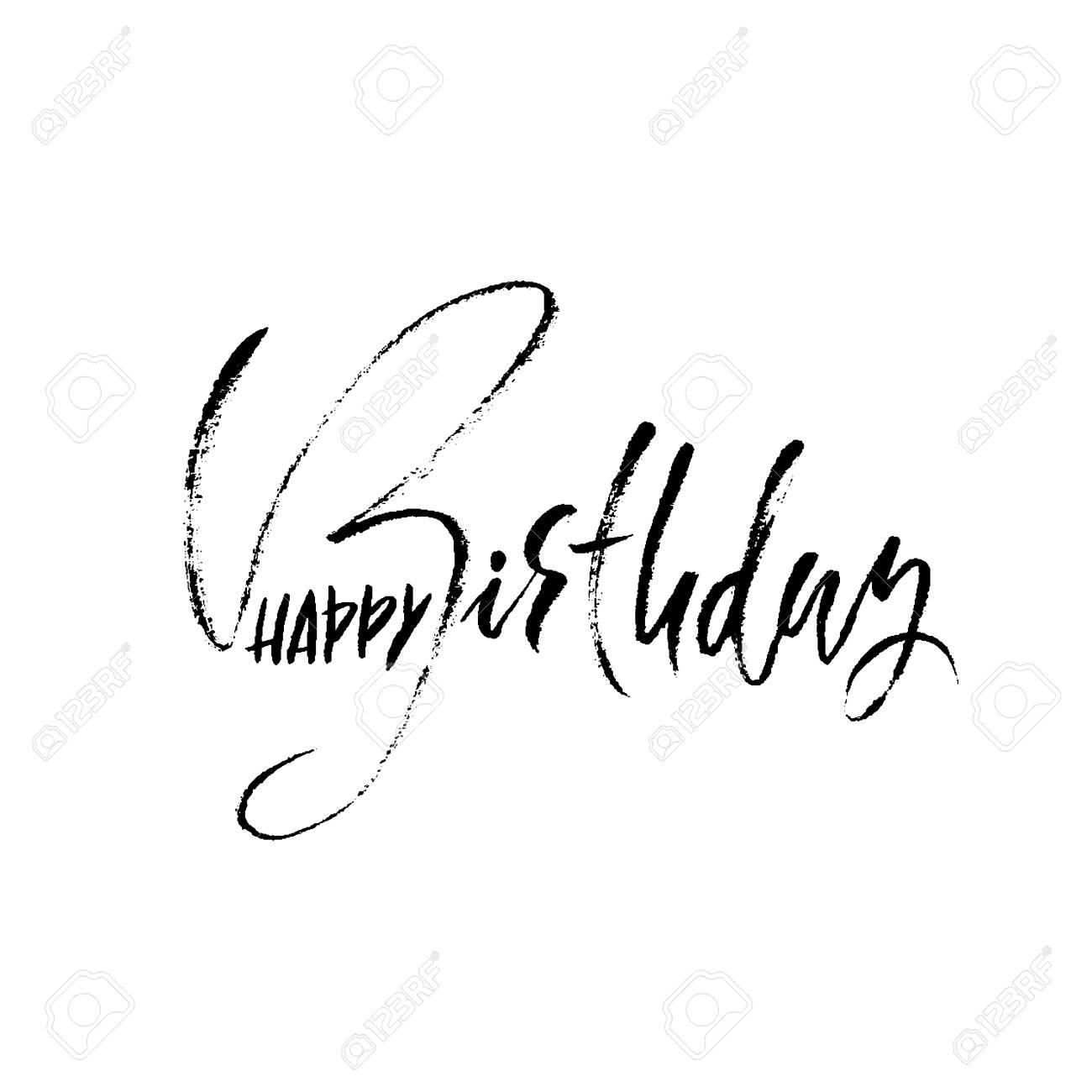 Feliz Cumpleaños Cepillo Seco Moderno Letras Para Invitación Y Tarjeta De Felicitación Grabados Y Carteles