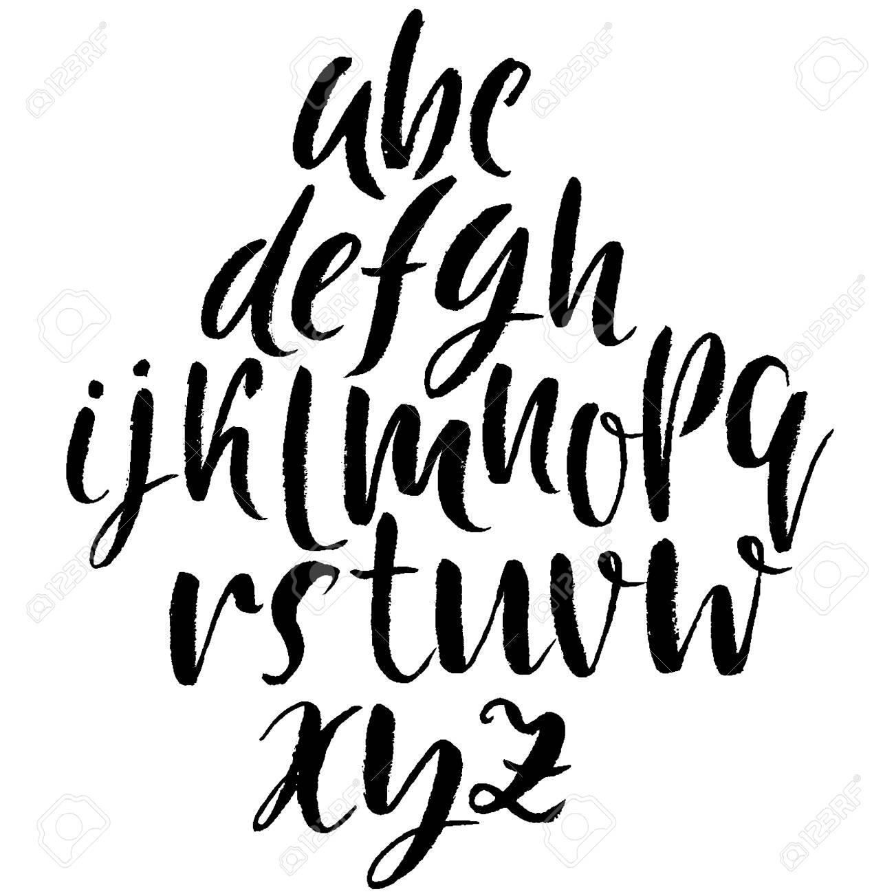Hand Drawn Dry Brush Font Modern Lettering Grunge Style Alphabet Calligraphy Script
