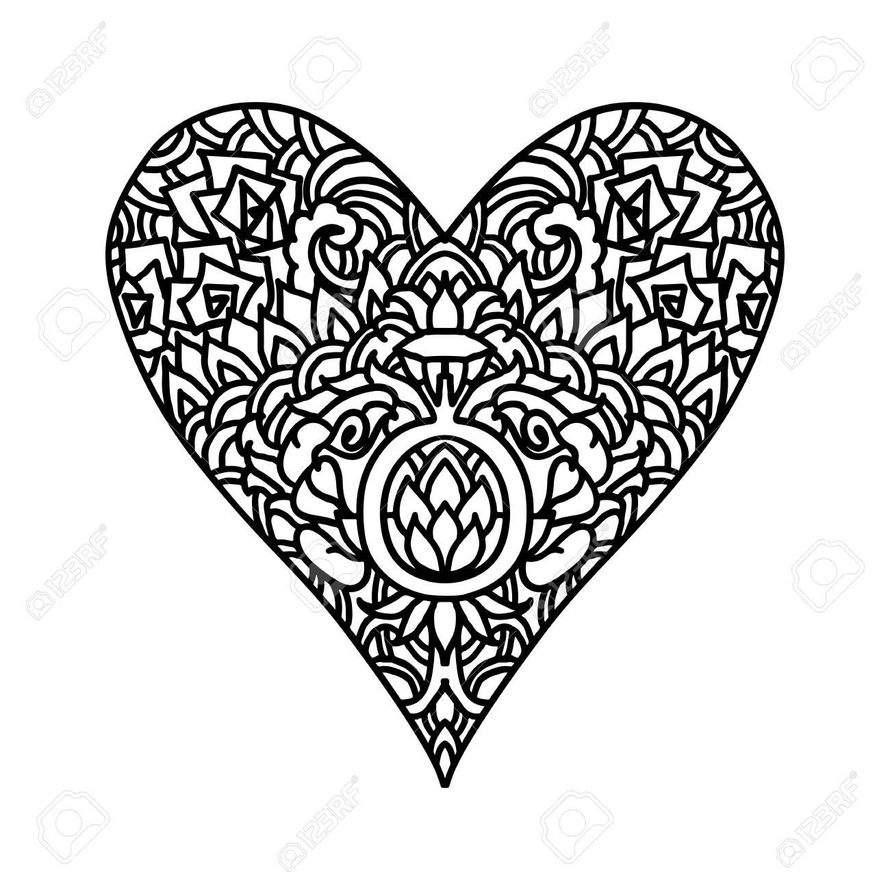 Diseño De Estilo De Mandala Corazón Handdrawn Para Tarjetas De San ...