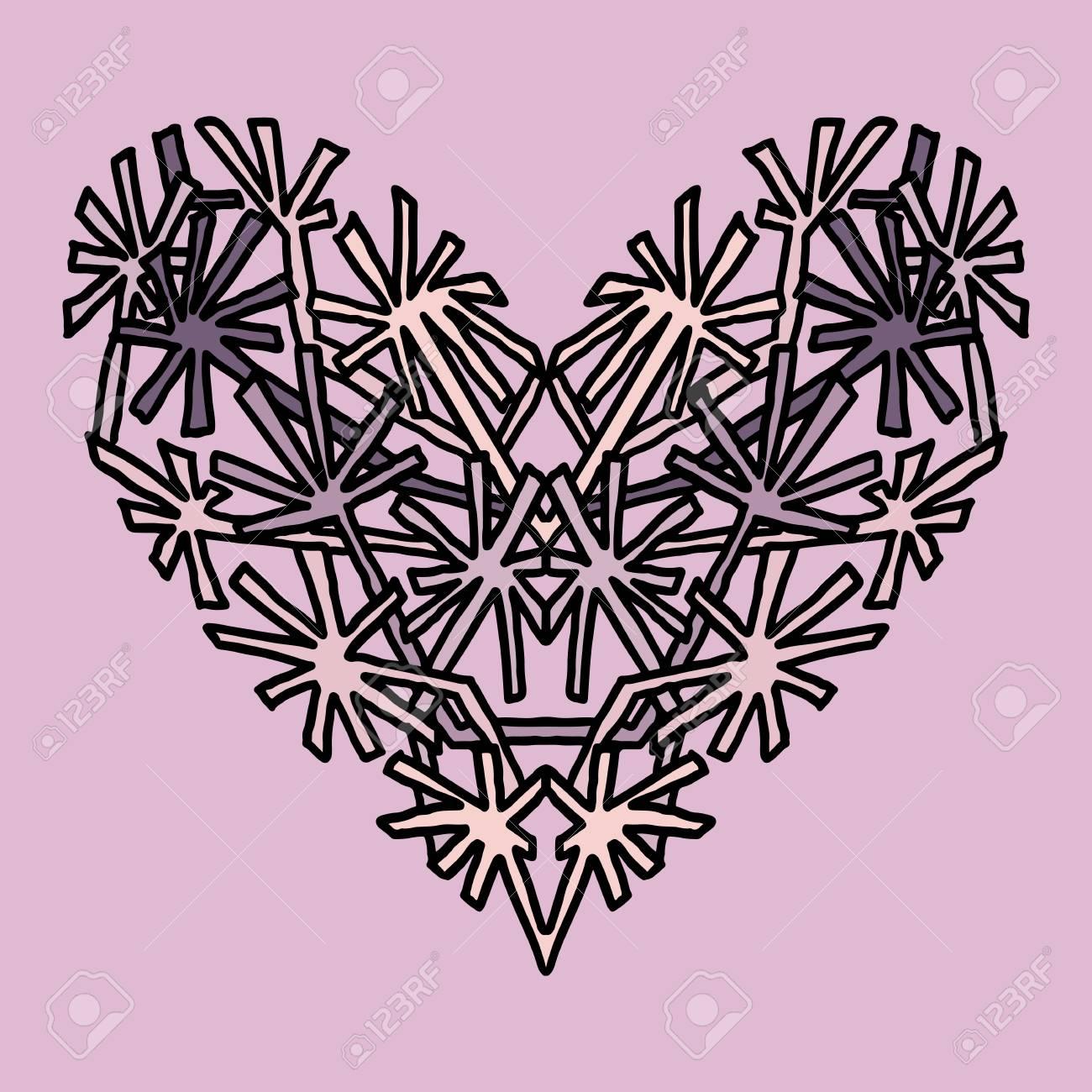 Corazón Dibujado A Mano. Diseño De Estilo Mandala Para Tarjetas De ...