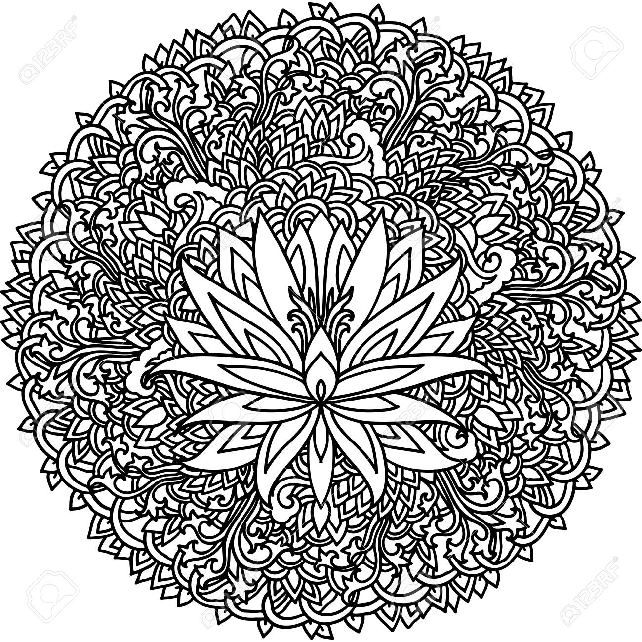 Abstract Mandala Ornament Asian Pattern With Lotus Flower Black