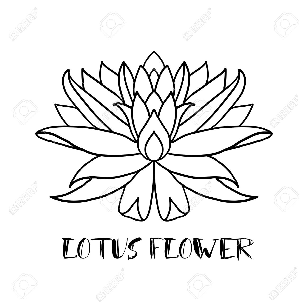 Lotus Flower Icon On White Background Yoga Symbol Vector