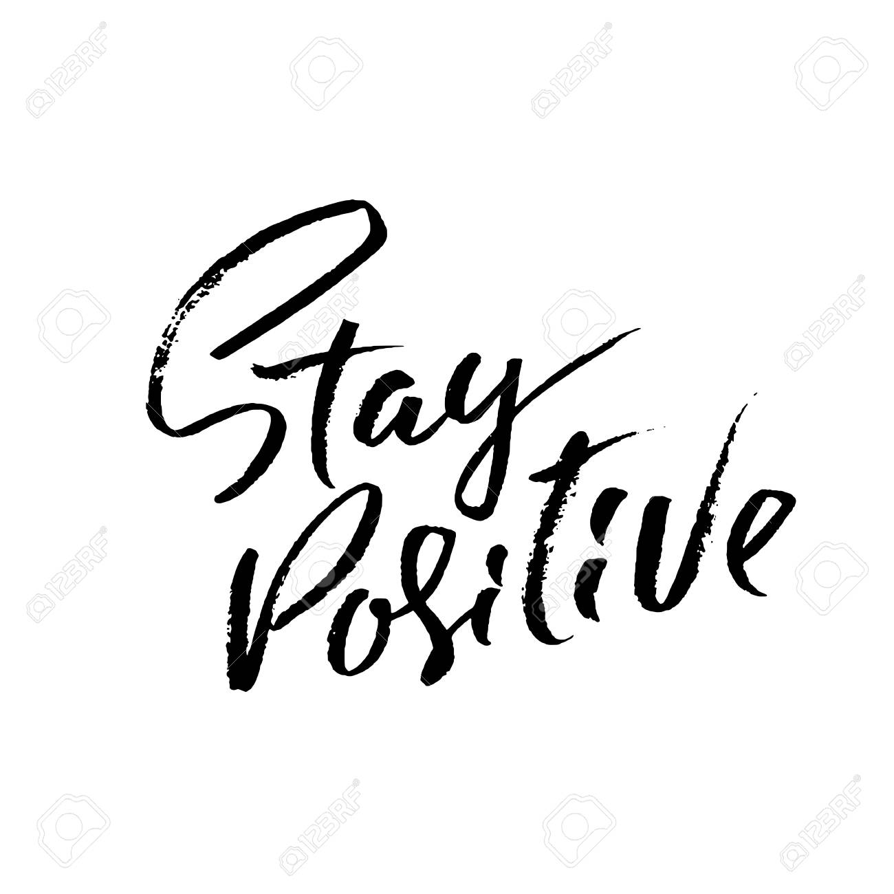 Stay Positive. Hand drawn dry brush motivational lettering. Ink illustration. Modern calligraphy phrase. Vector illustration - 95458634