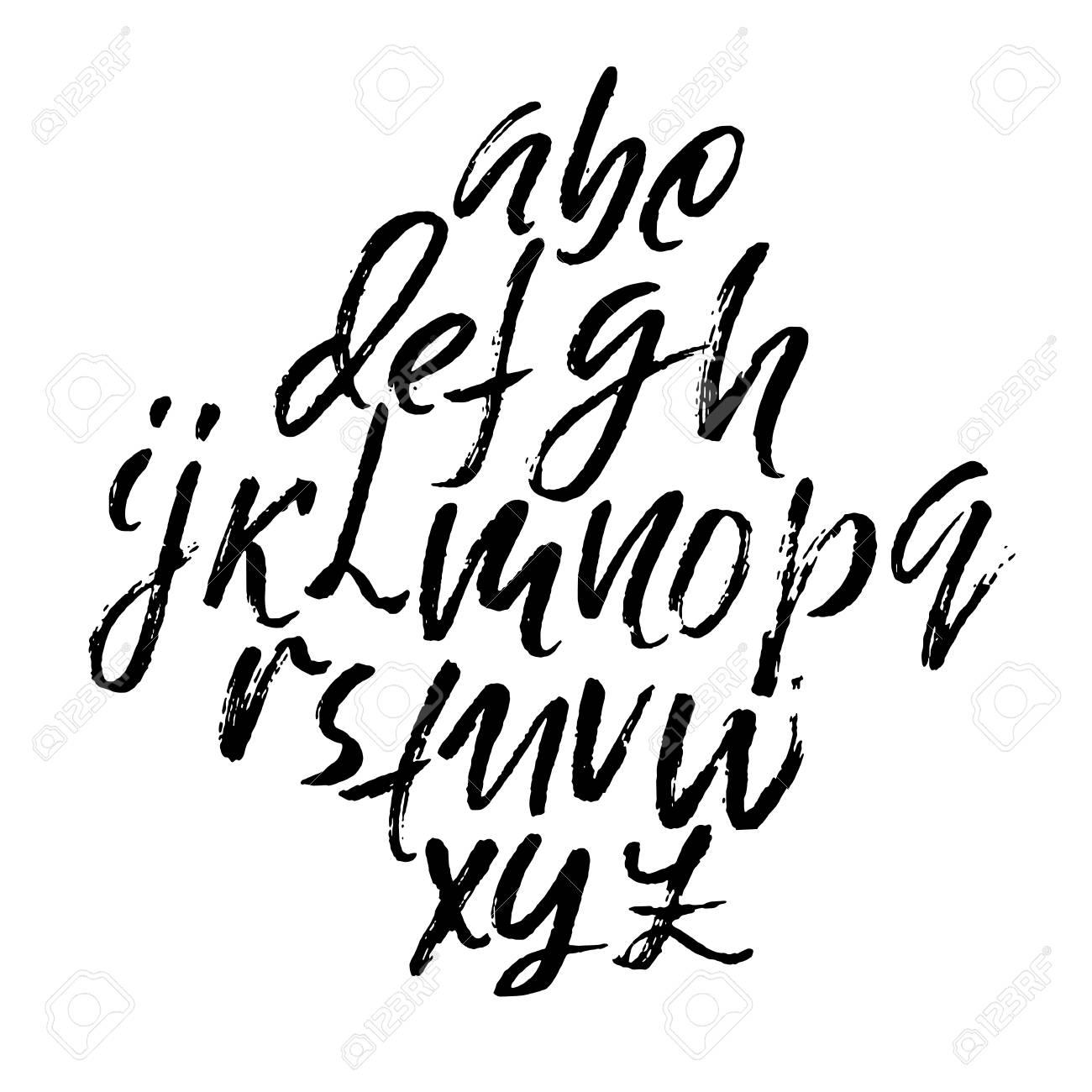 Hand-drawn dry brush font alphabet