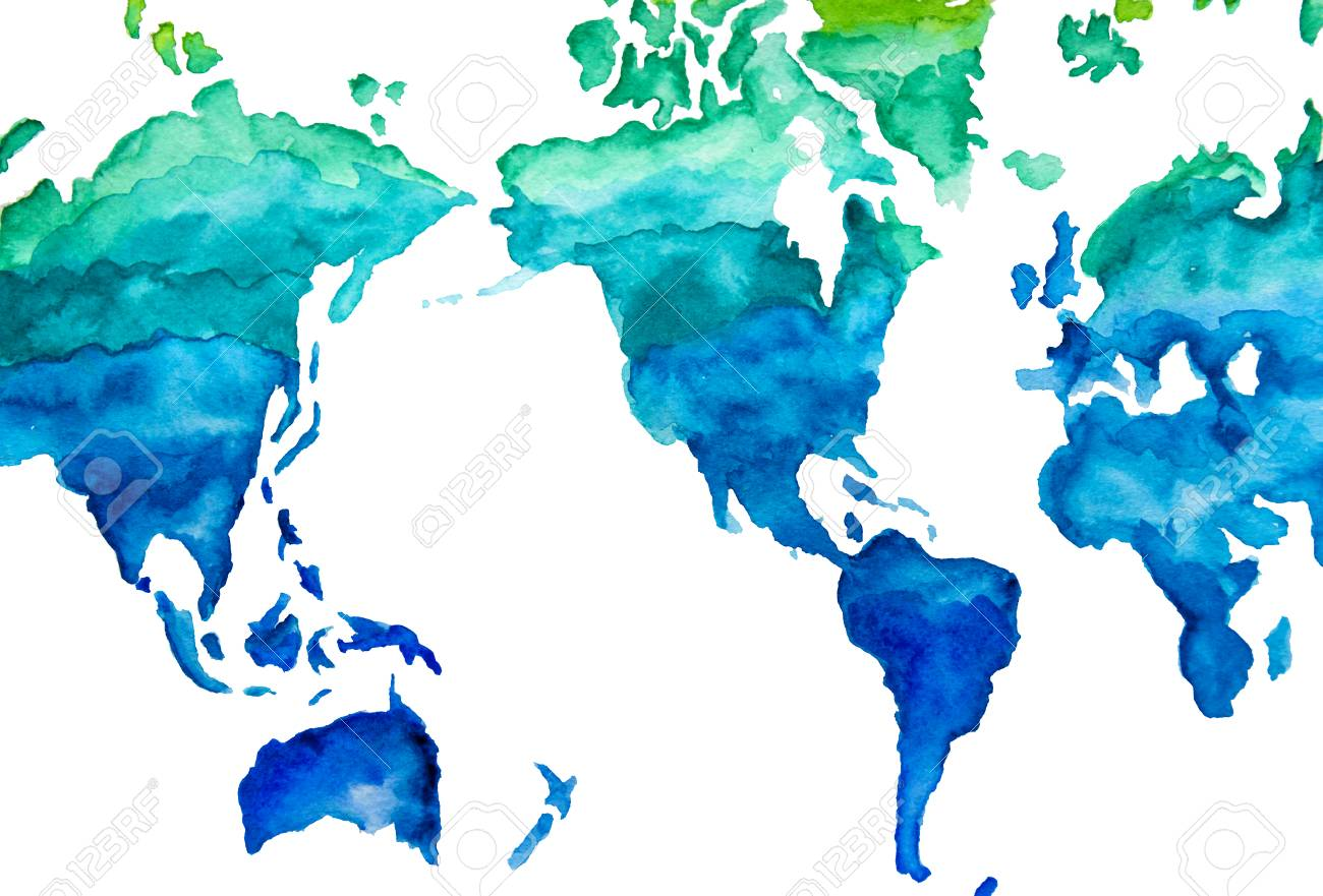 Watercolor Map Of The World. Green And Blue Illustration. Stock ...