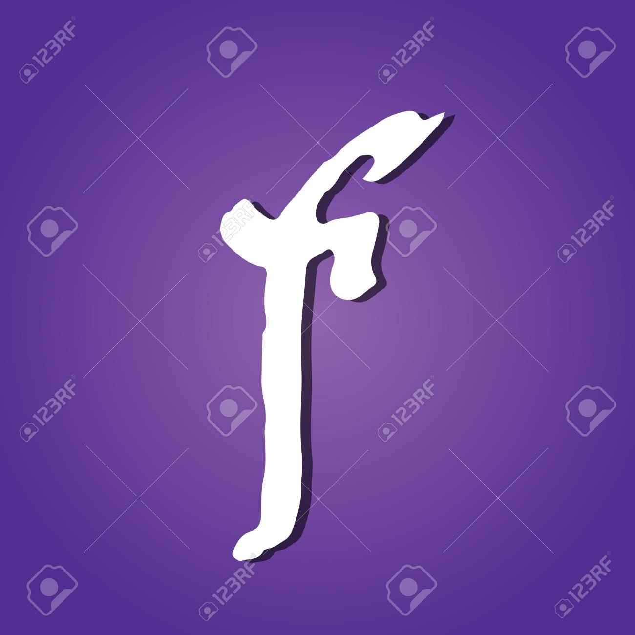 Letter f  Vintage grunge font  Gothic style letter  Vector illustration