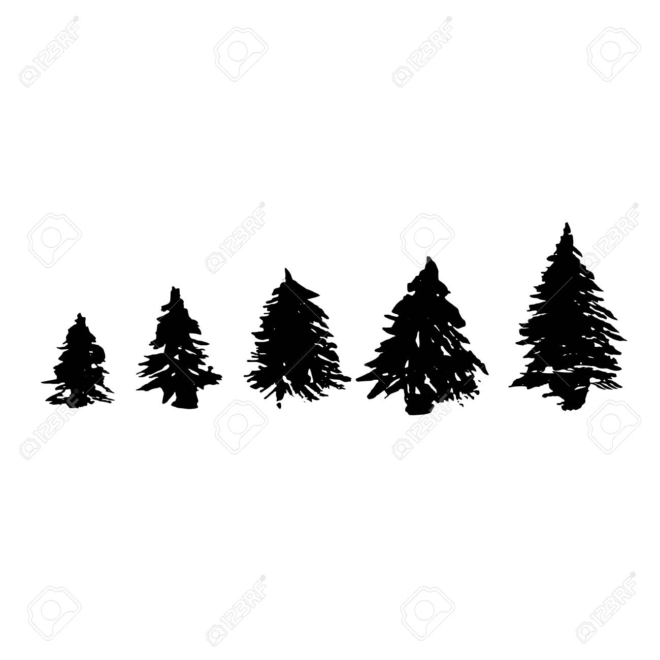 Christmas Trees Silhouette.Set Of Fir Tree Silhouettes Black Grunge Christmas Trees Watercolor