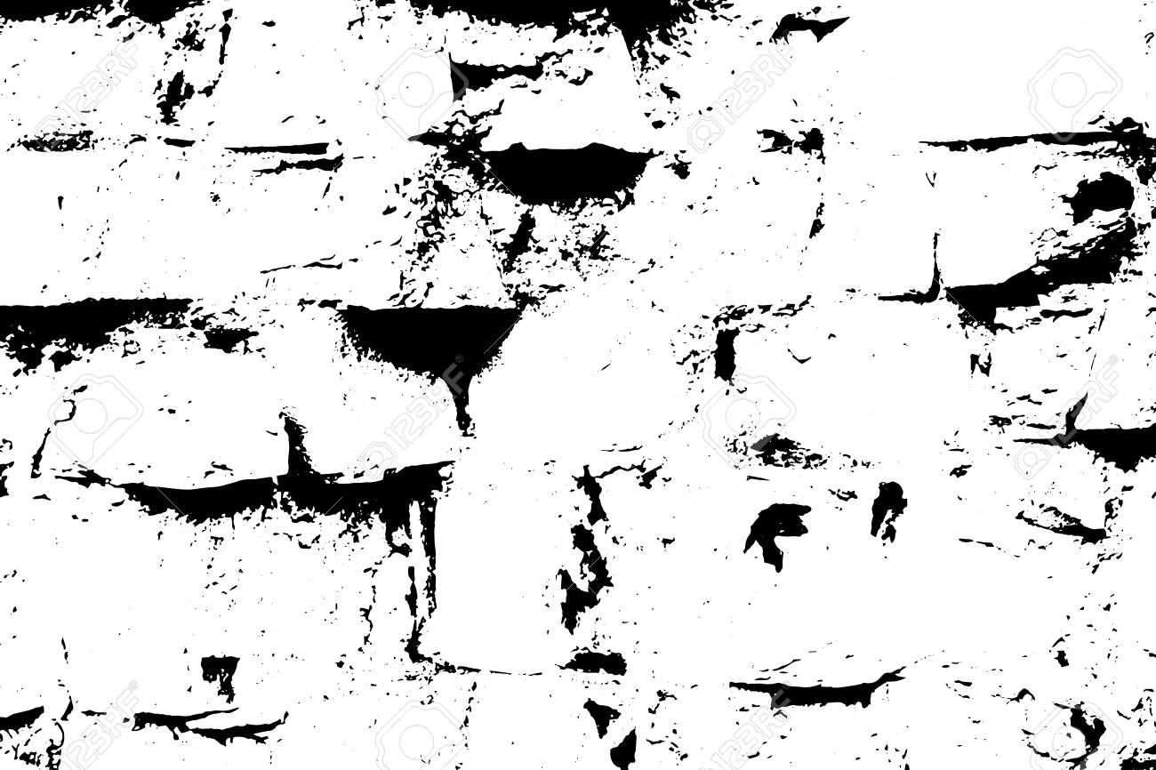 Grunge old brick texture. Vector black and white illustration. - 128868738