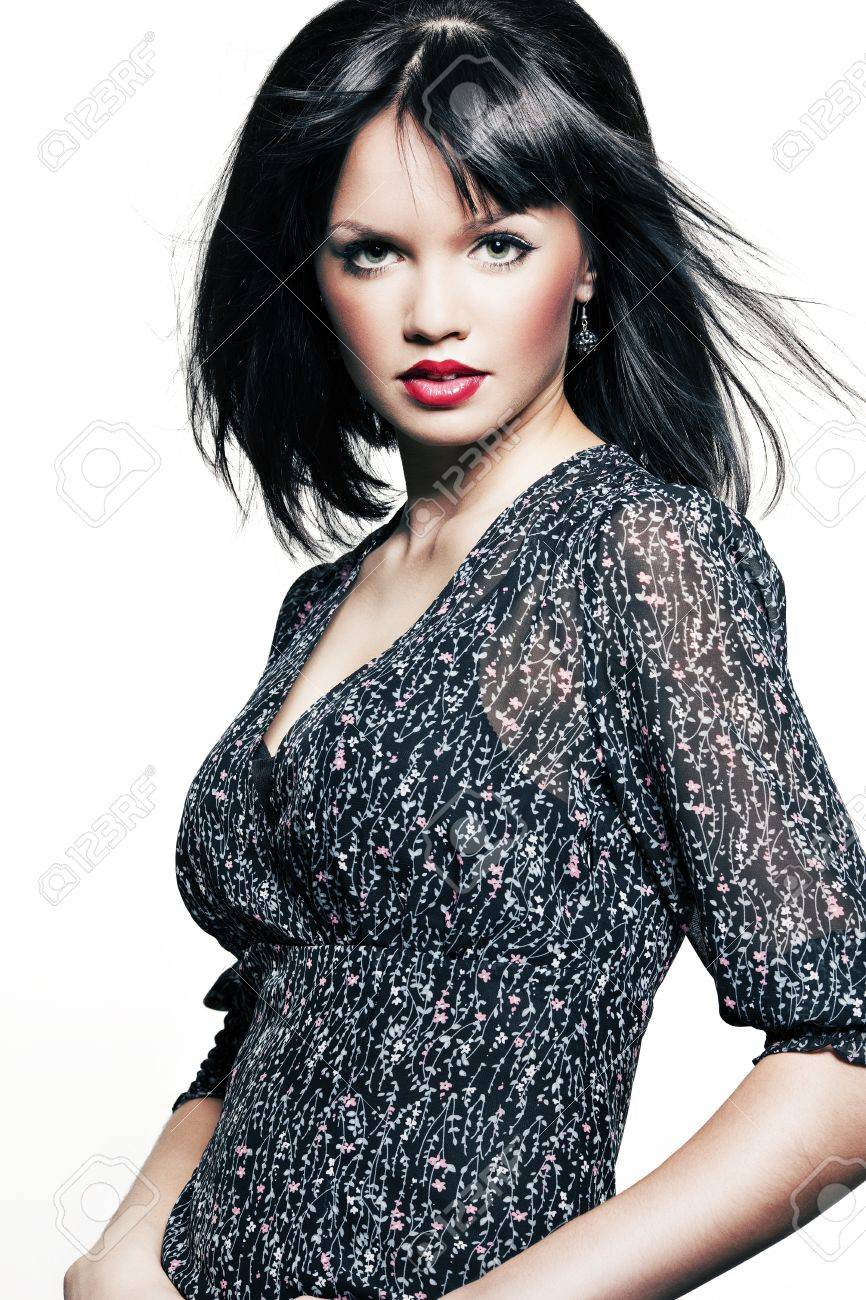 Black dress with red lipstick - Beautiful Girl With Perfect Skin In A Dark Dress With Black Short Hair And Bright Red Lipstick