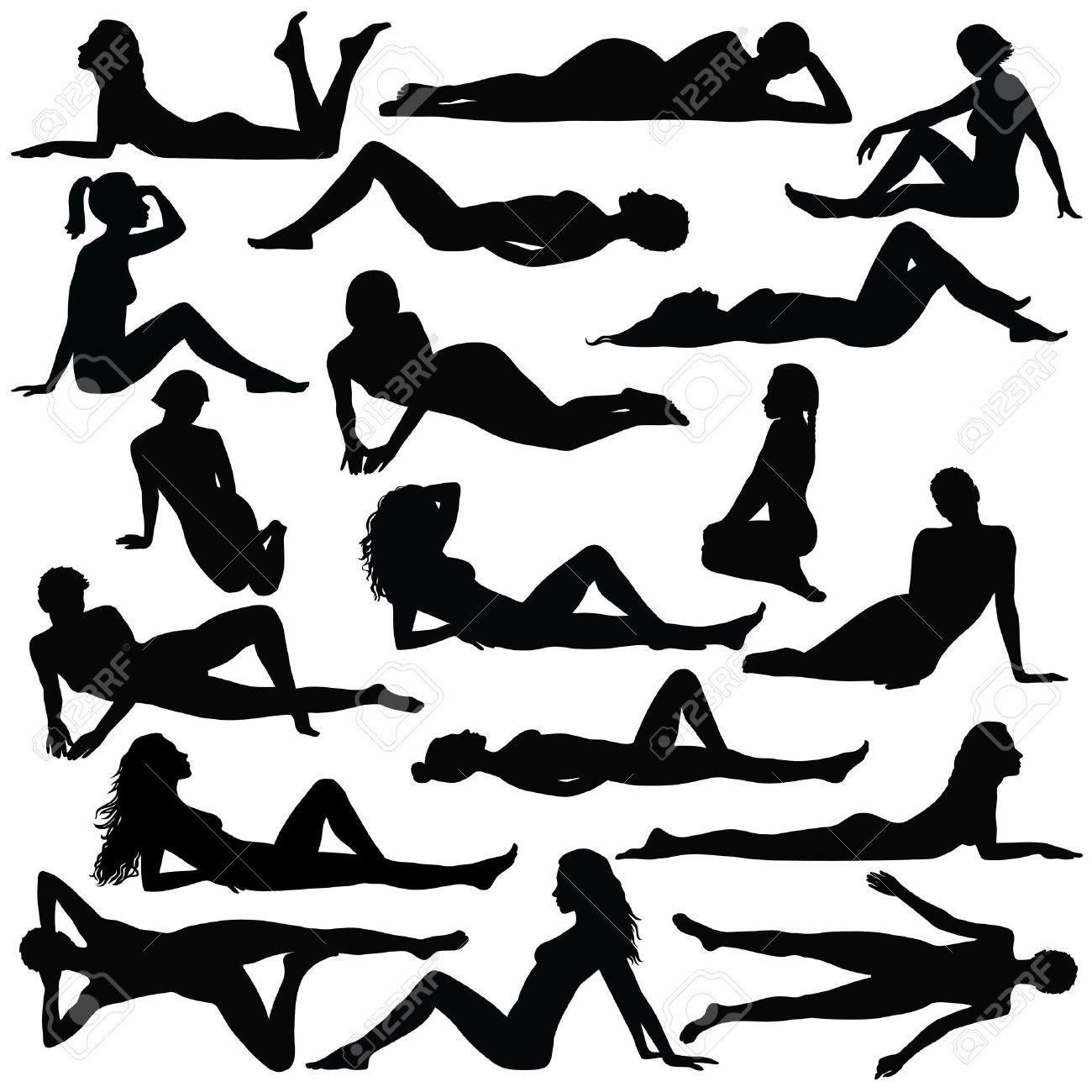 Black silhouette of beautiful woman in bikini sitting and laying. - 62635017