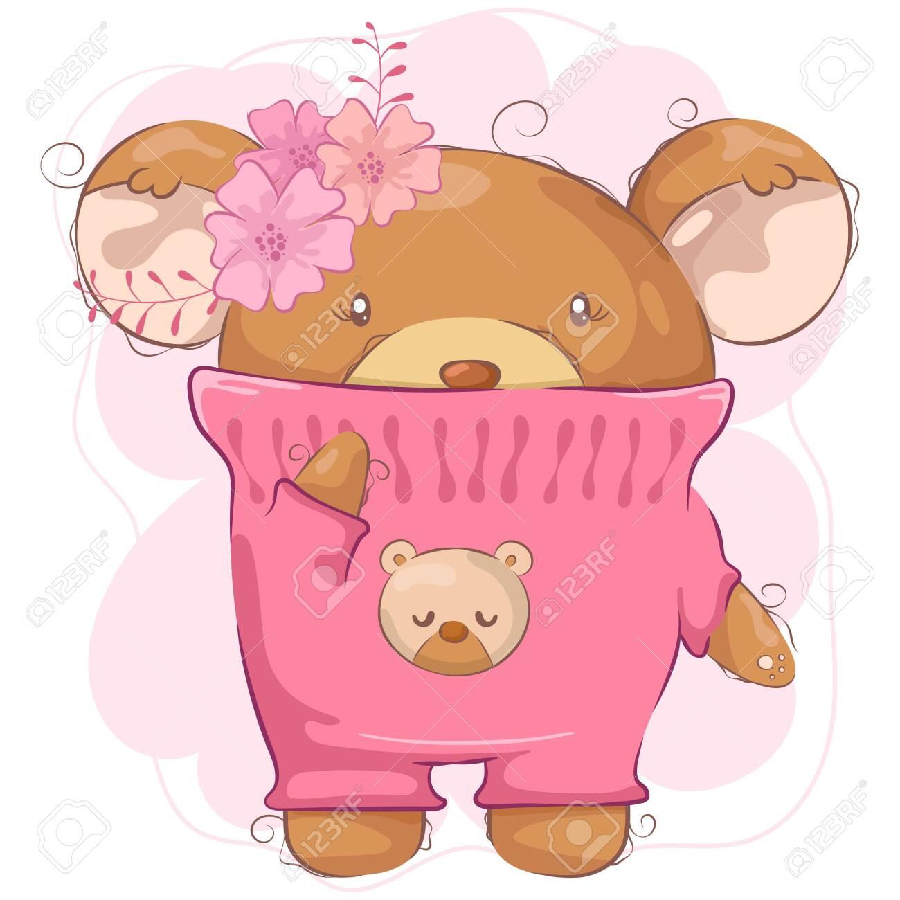 Cartoon cute bear girl with flower - 145362598