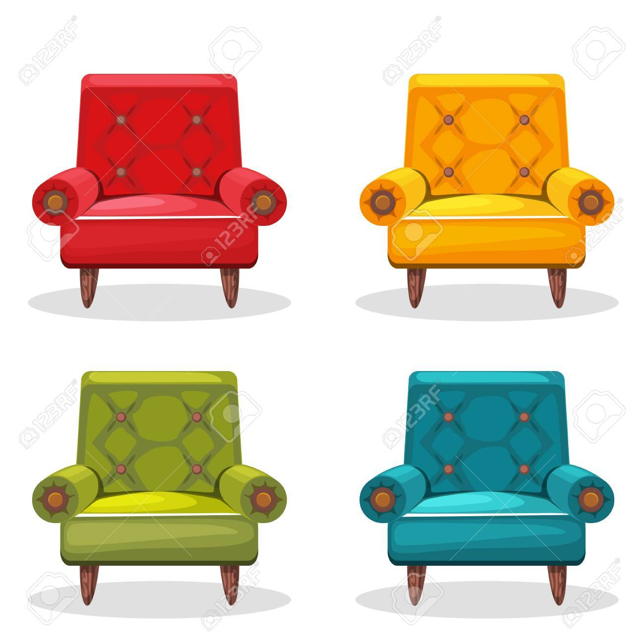 Armchair Soft Colorful Homemade, Set 4 In Vector Stock Vector   60021509