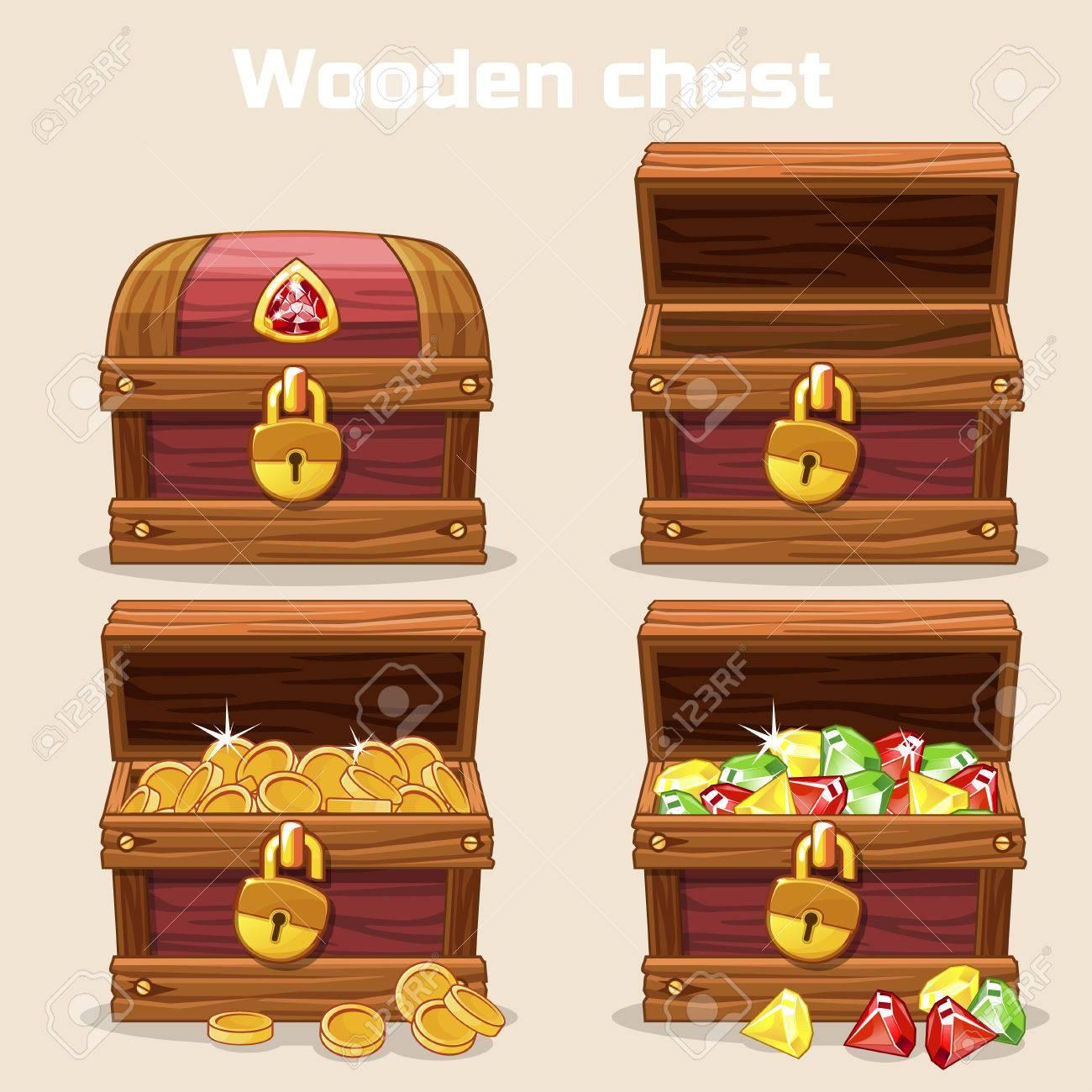 opened and closed antique treasure chest vector illustration rh 123rf com pirate treasure chest vector pirate treasure chest vector