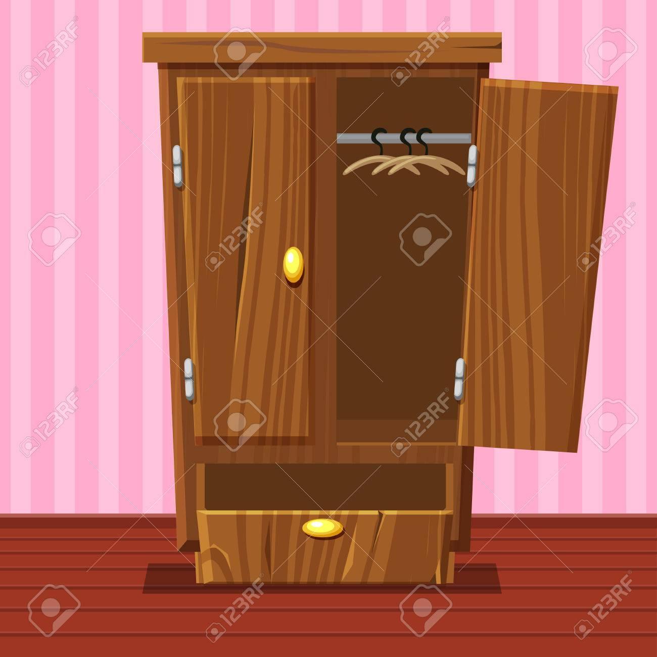 Cartoon Empty Open Wardrobe Living Room Wooden Furniture In  # Muebles Wardrobe