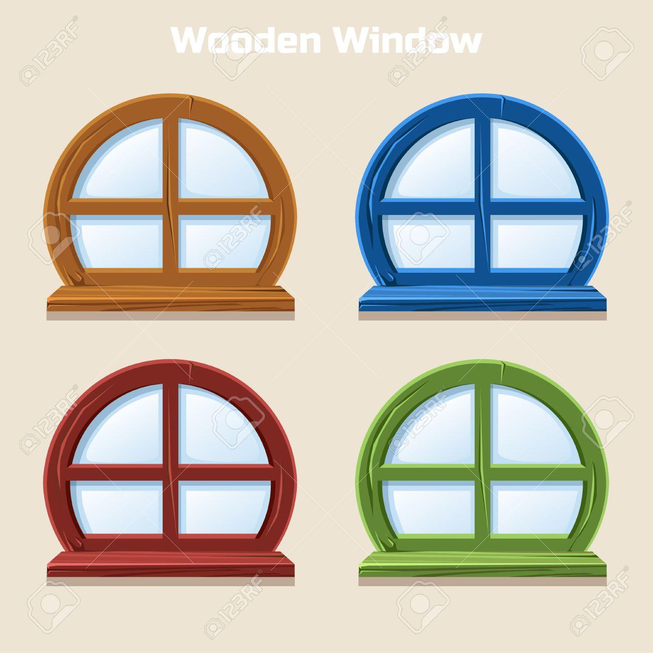 Interior wooden shelves free vector - Cartoon Wooden Round Colorful Window Home Interior In Vector Stock Vector 62210969