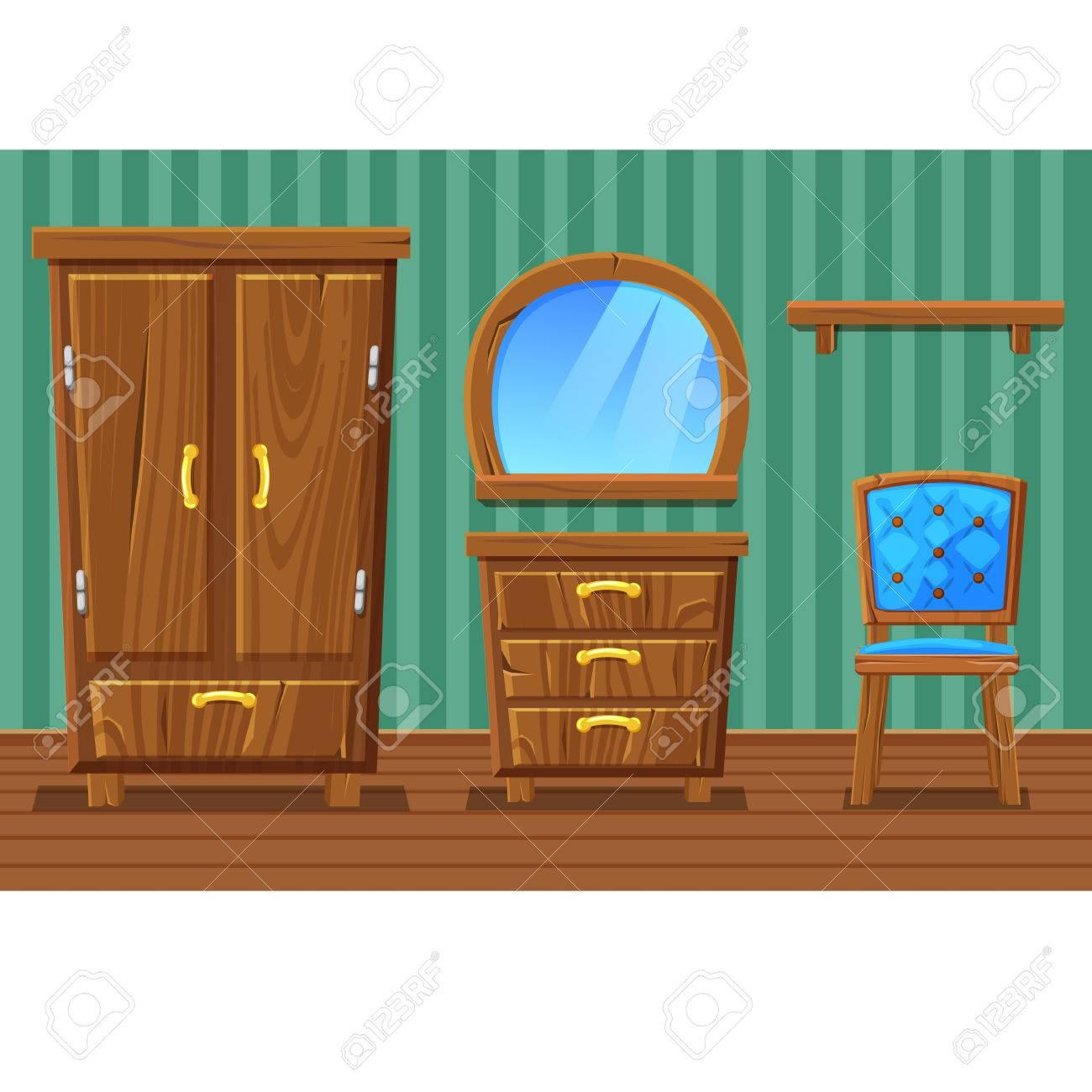 Set Cartoon Lustige Holzmöbel, Wohnzimmer Im Vektor Standard Bild   62395246