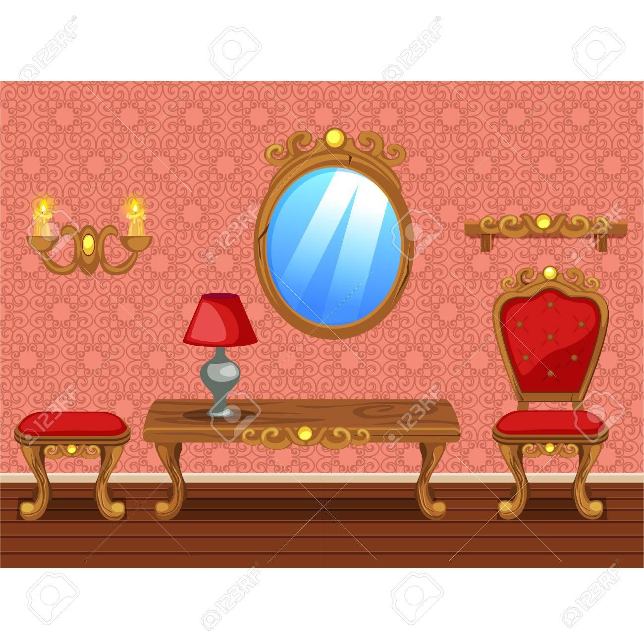 Set Karikatur Lustig Holz Retro Möbel, Rot Wohnzimmer Standard Bild    66815152