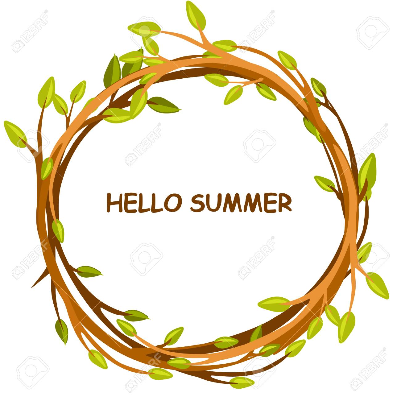 Cute Background Greeting Card, HELLO SUMMER In Circle Of Twigs, Set 4  Season Stock