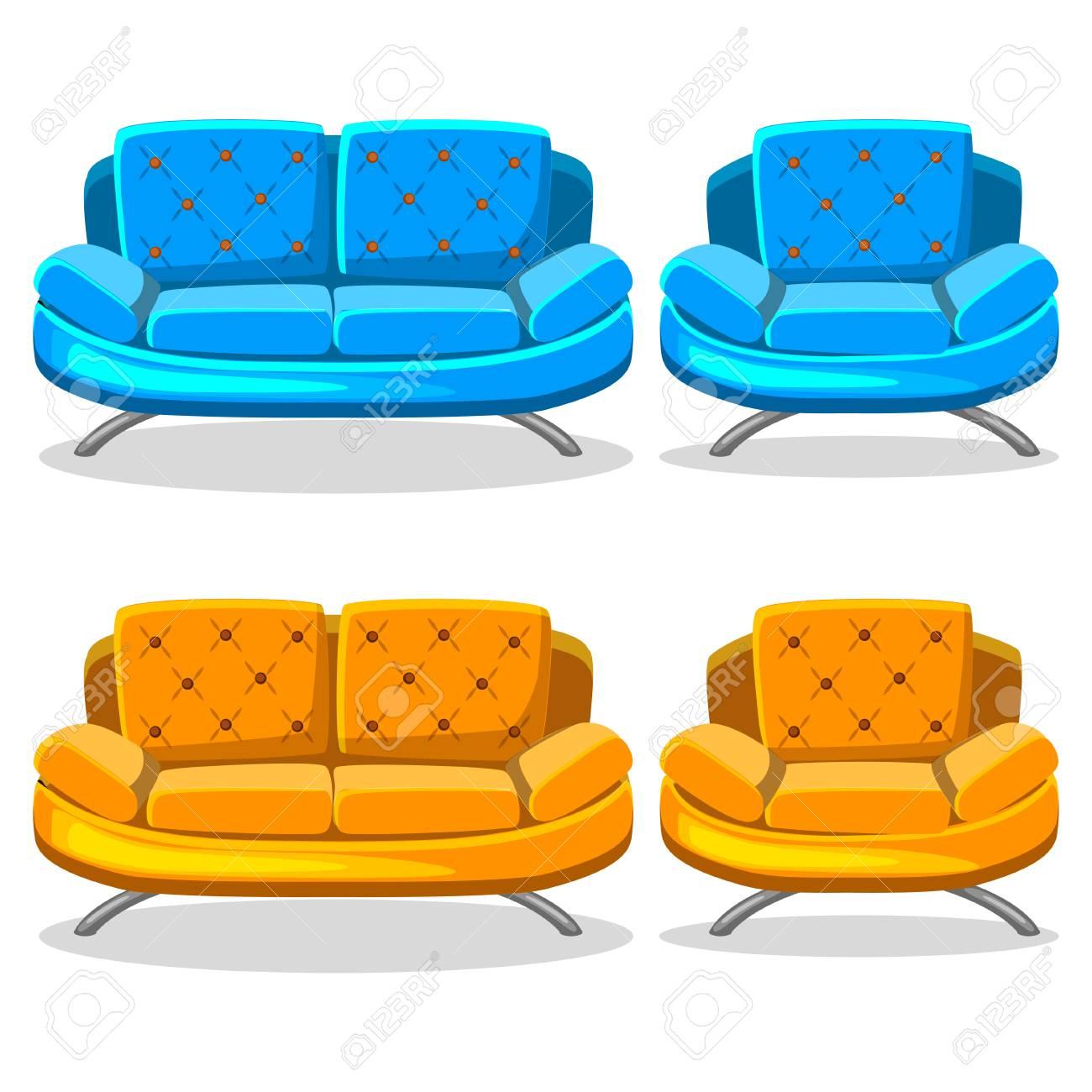 Cartoon Colorful Armchair And Sofa, Set 10 In Vector Stock Photo   75395617