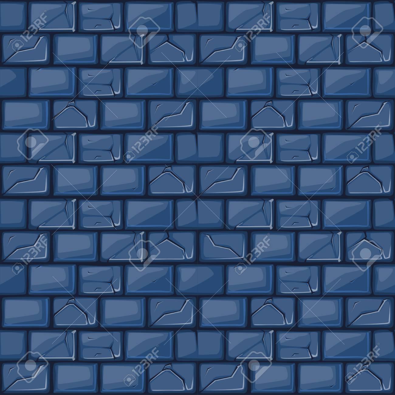 Texture De Mur En Pierre Bleue Dessin Animé Définir Fond Sans