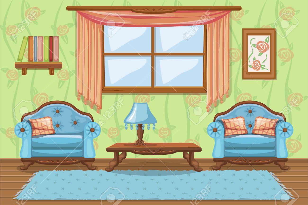 Set Cartoon Cushioned Furniture, Living Room Stock Vector   80643075 Part 59