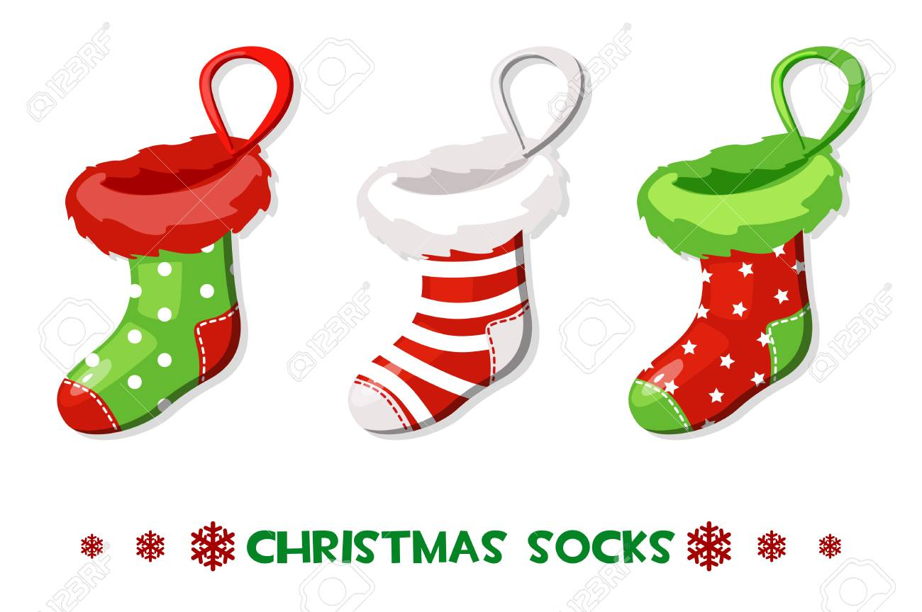 Vector Cartoon Christmas socks, New Year symbols - 91097067