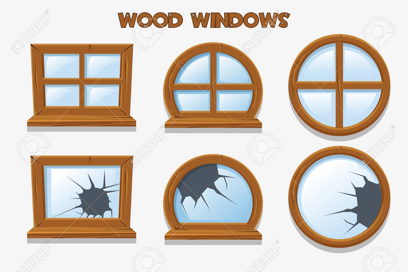 Different shape and old shattered wood windows, cartoon building objects. Element home Interiors - 100985337
