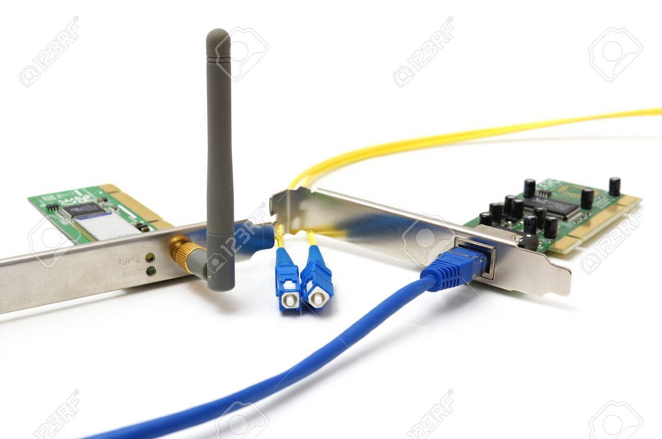 wireless card lan card and optical cable stock photo picture and stock photo wireless card lan card and optical cable