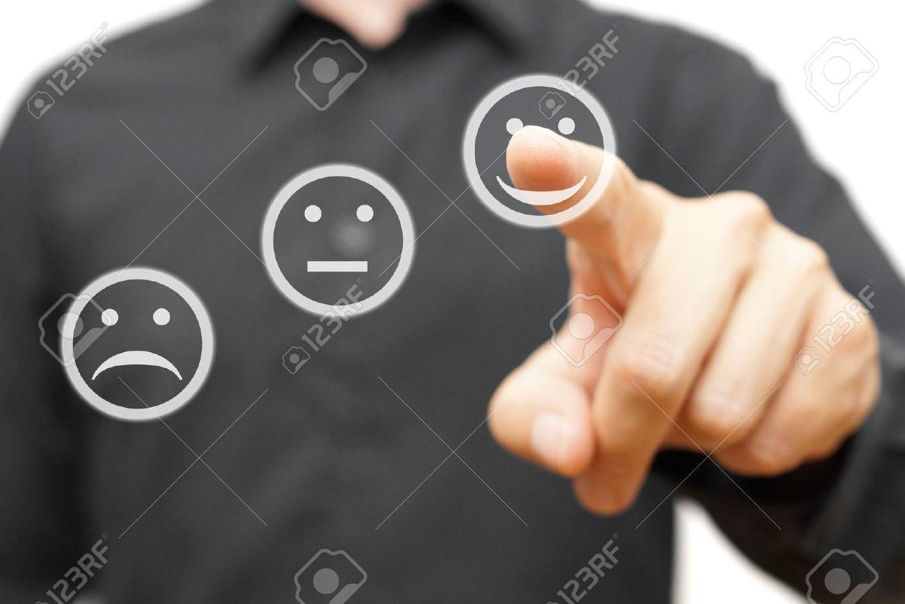 man is choosing happy,positive smile icon, concept of satisfaction and improvment Stock Photo - 47708090