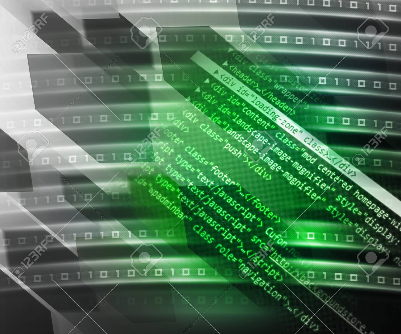 Green Source Code Background Stock Photo - 14440768