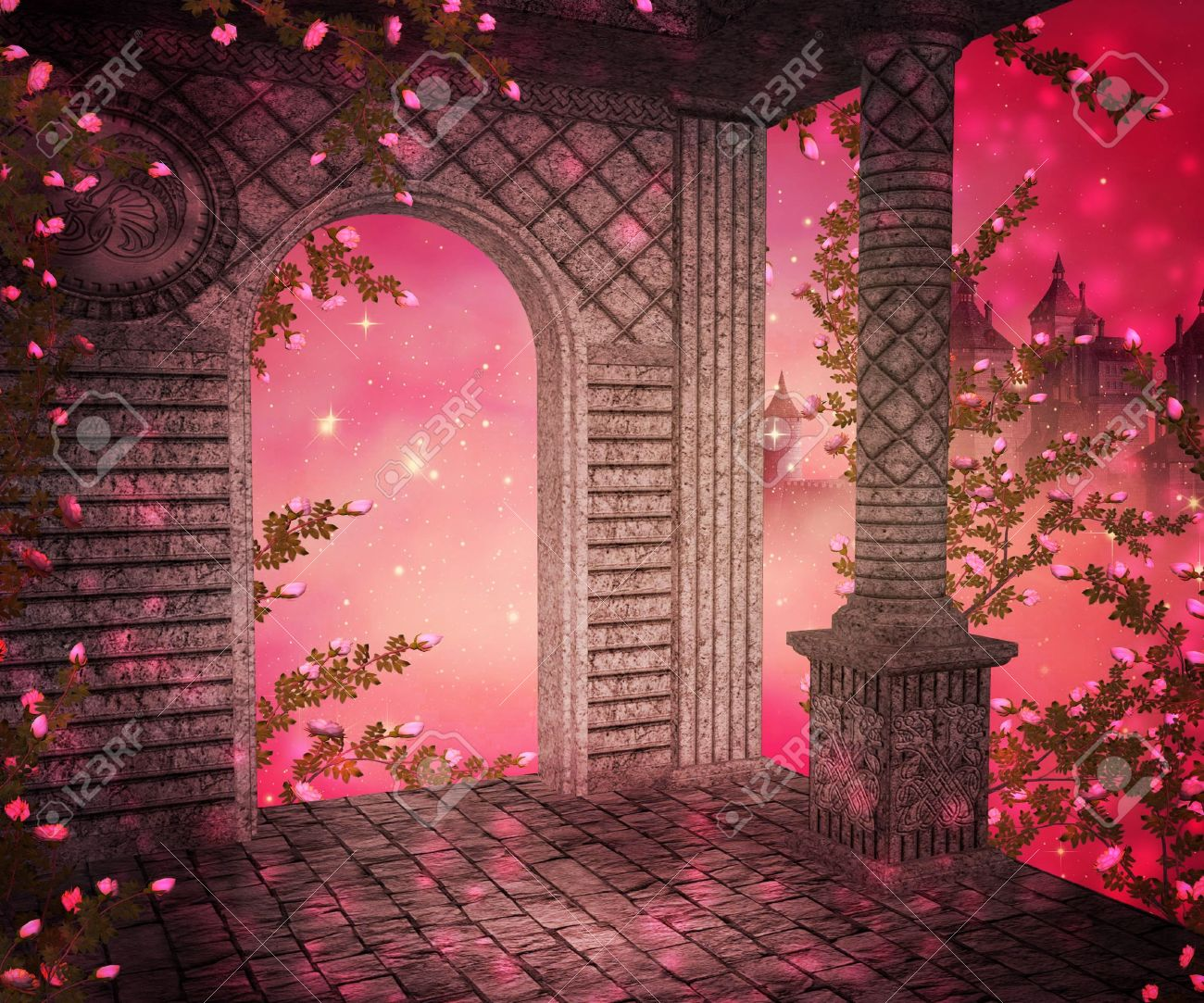 pink palace interior background stock photo, picture and royalty