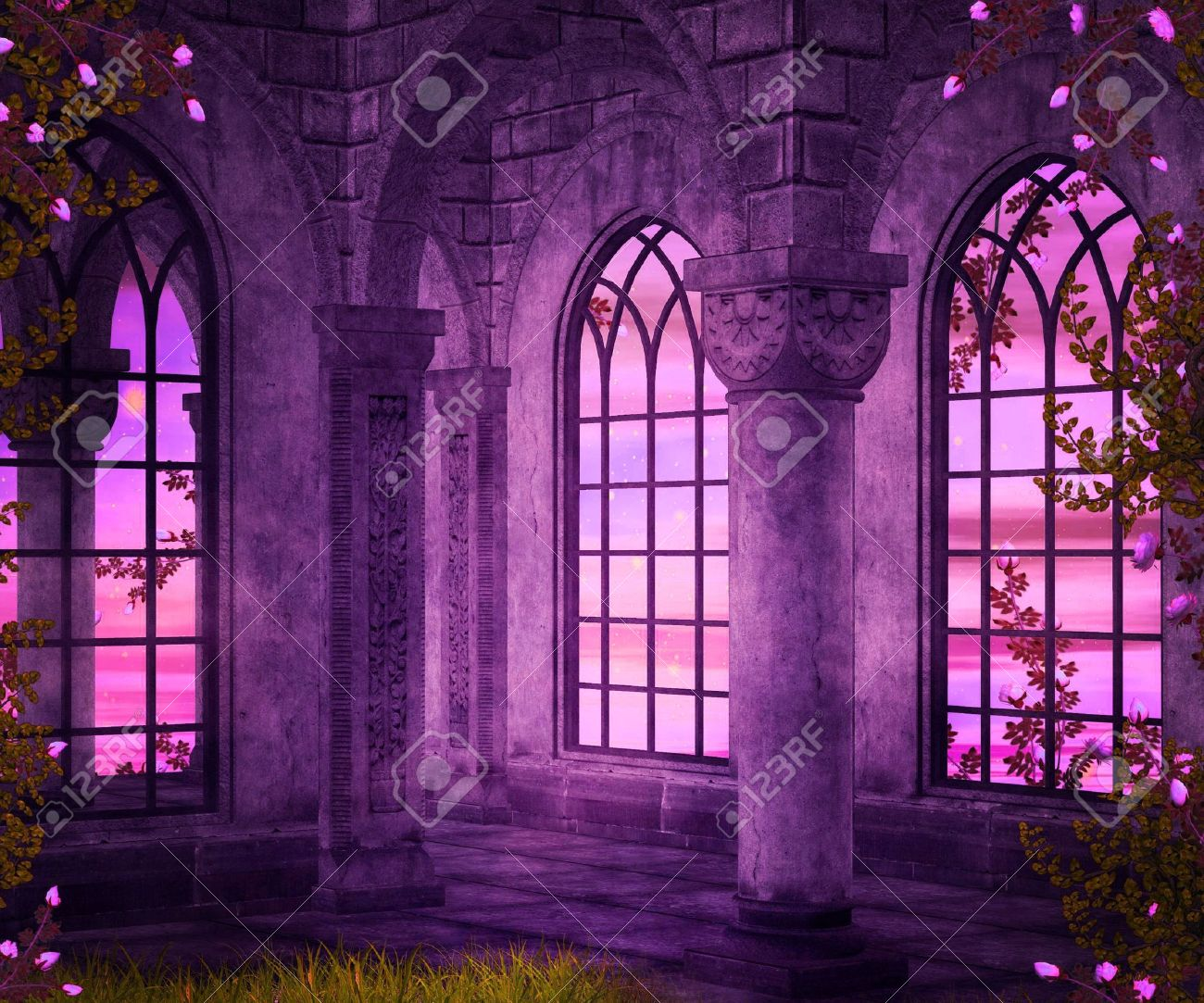 castle interior fantasy backdrop stock photo, picture and royalty