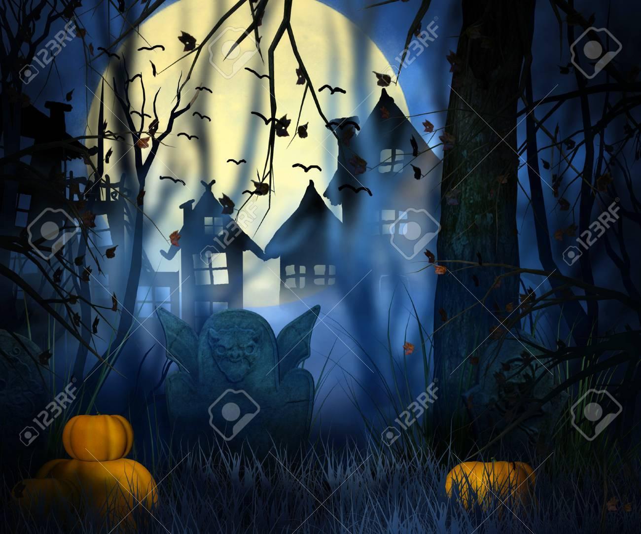 scary night halloween backdrop stock photo 23838343
