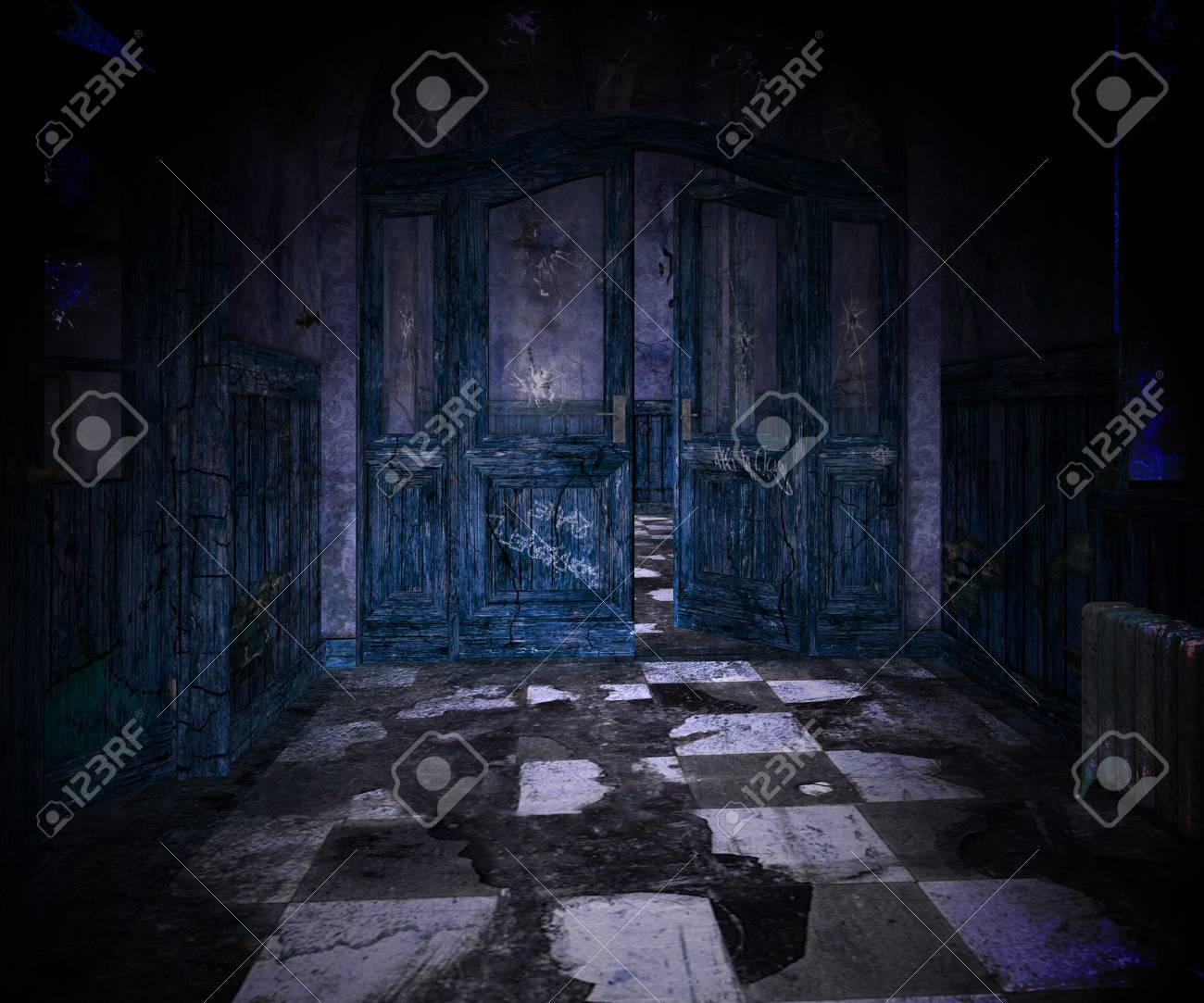Blue Scary Interior Background Stock Photo