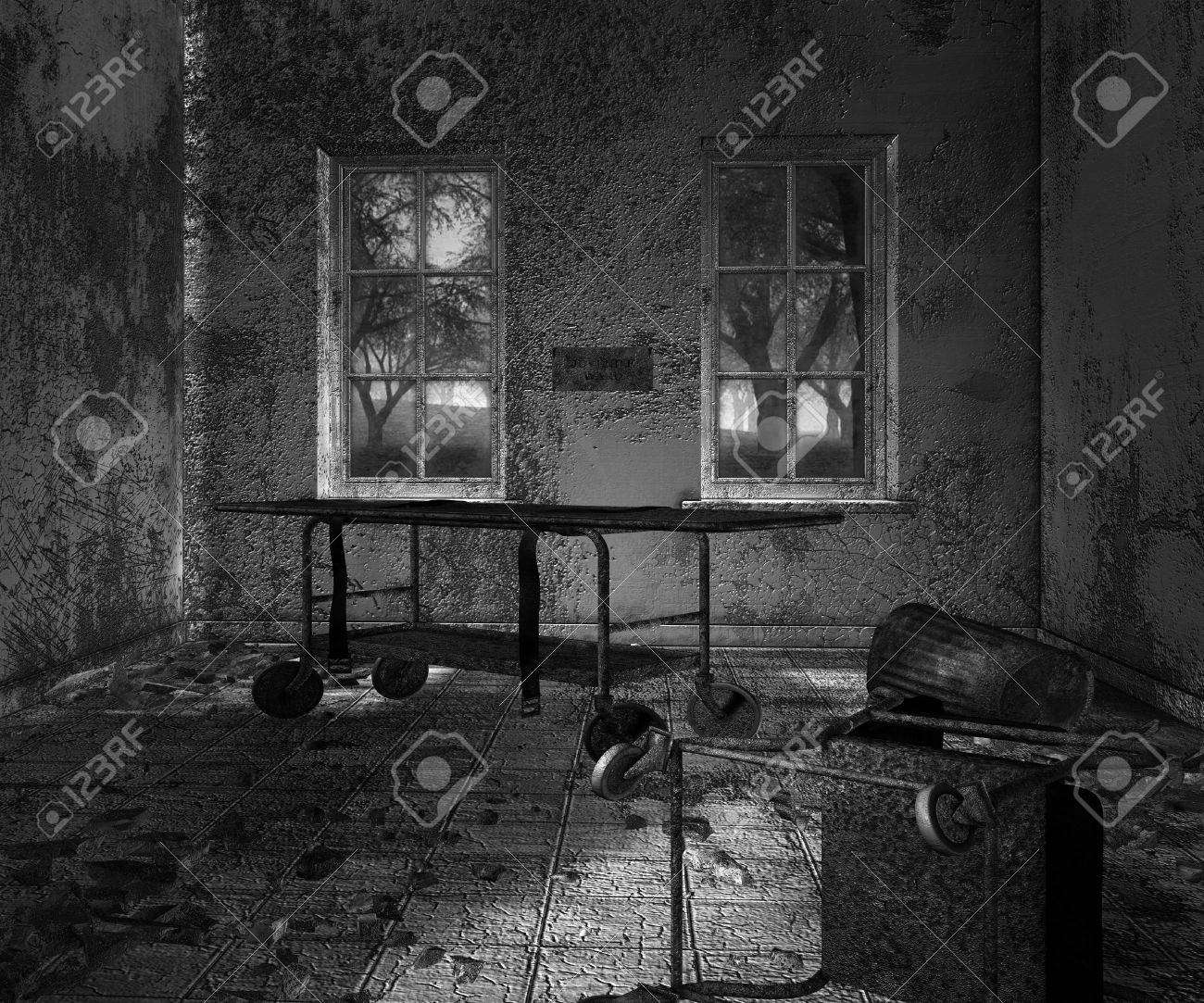 Dark Asylum Scary Interior Background Stock Photo