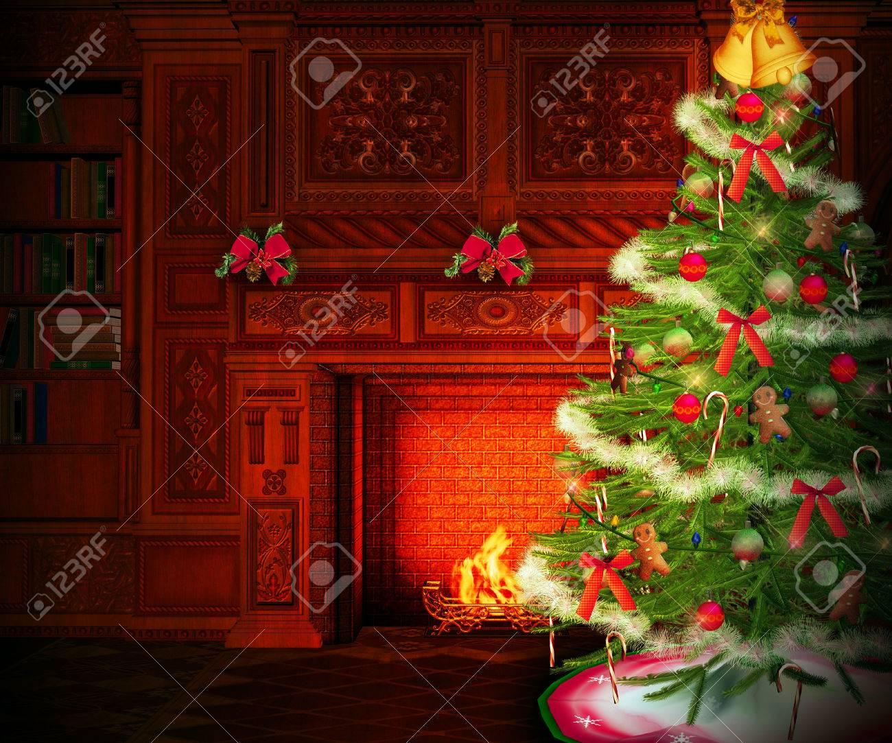 Christmas Fireplace Interior Backdrop