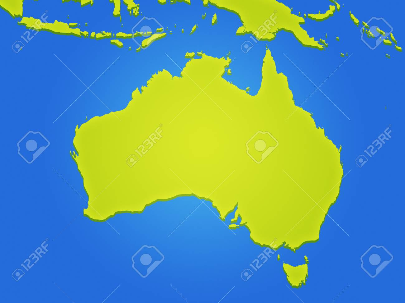 Simple Map Of Australia.Simple Coloured Map Of Australia Stock Photo Picture And Royalty