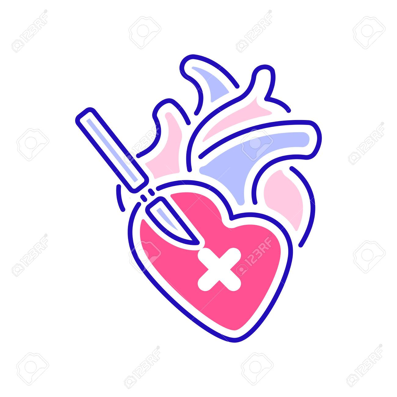 Heart Surgery Color Line Icon Surgical Emergency Isolated Vector Royalty Free Cliparts Vectors And Stock Illustration Image 150121312