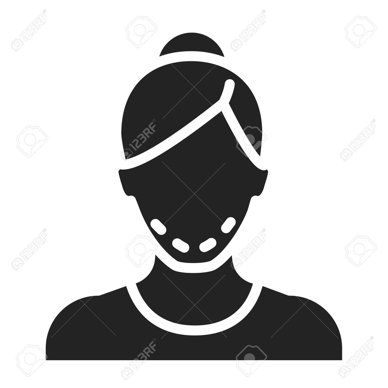 Mentoplasty black glyph icon. Change shape of chin. Faceless girl with face surgery. Isolated vector element. Outline pictogram for web page, mobile app, promo. - 156821016