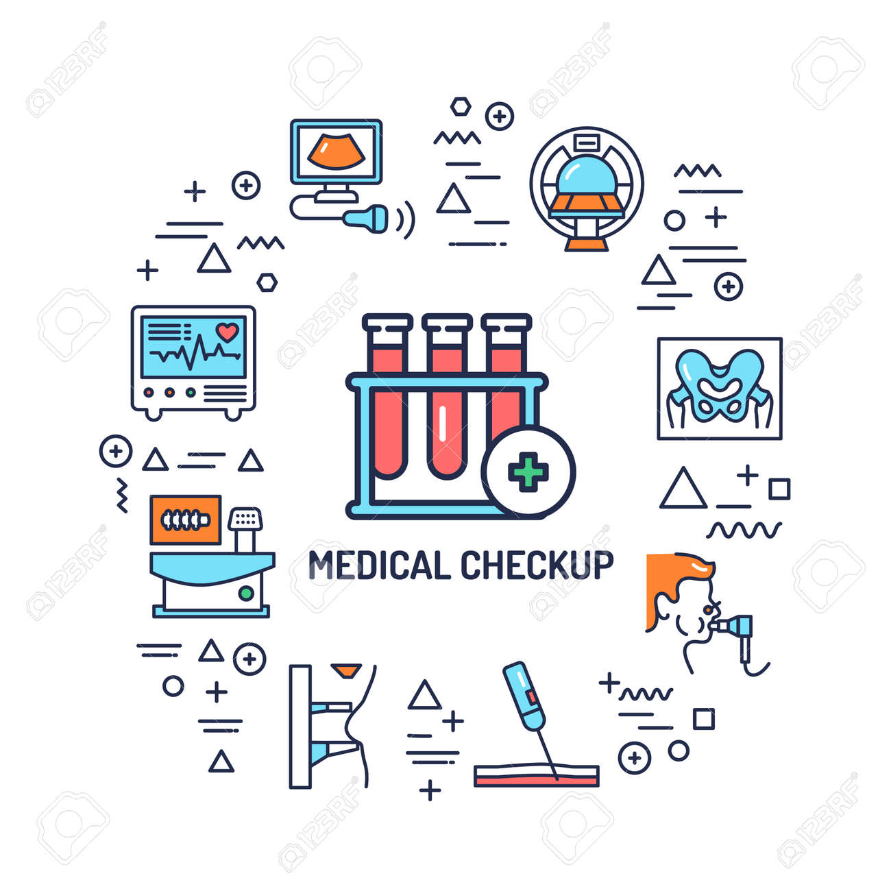 Medical checkup web banner. Infographics with linear icons on white background. Creative idea concept. Isolated outline color illustration. - 168399510