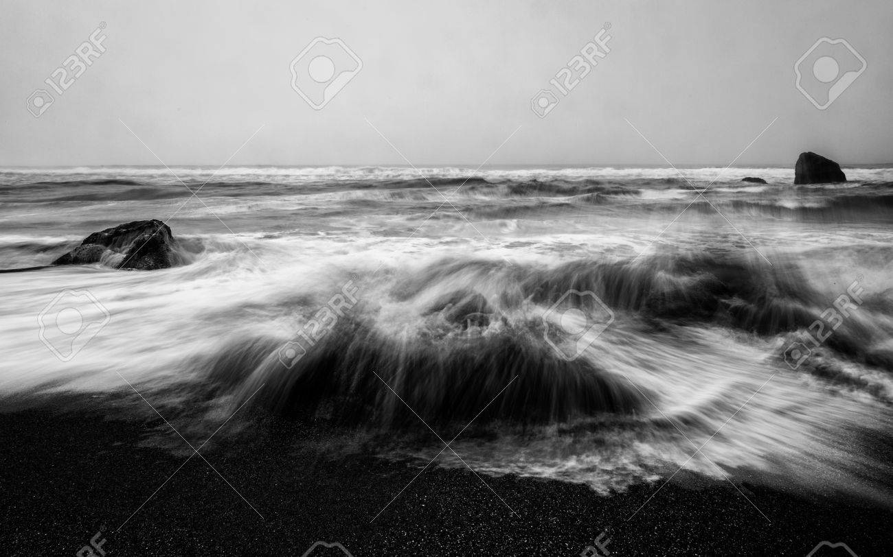 An angry ocean black and white long exposure image