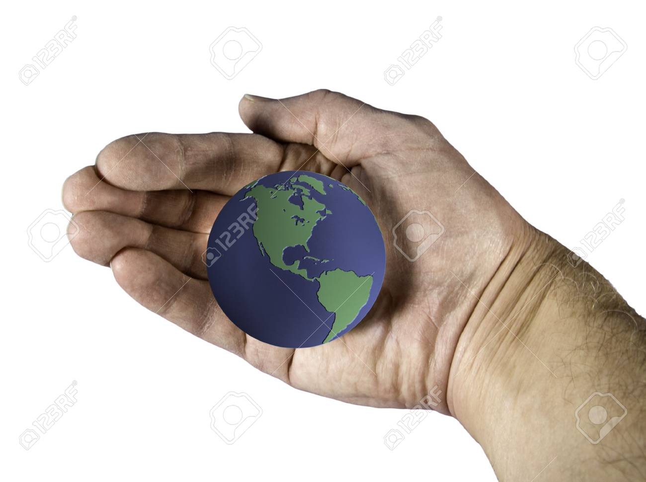 An image showing the earth cradled in an old hand Stock Photo - 2597533
