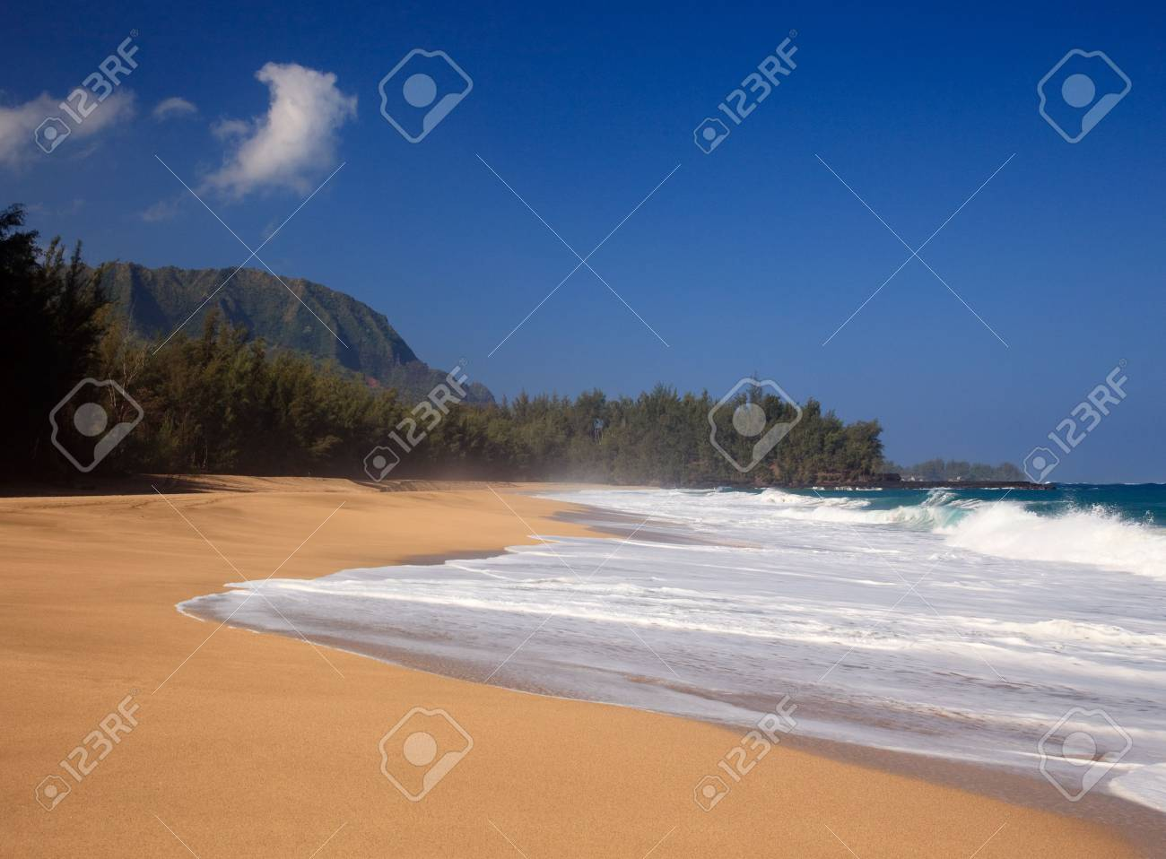 Strong waves crash over the beach at Lumahai on Kauai Stock Photo - 6371080