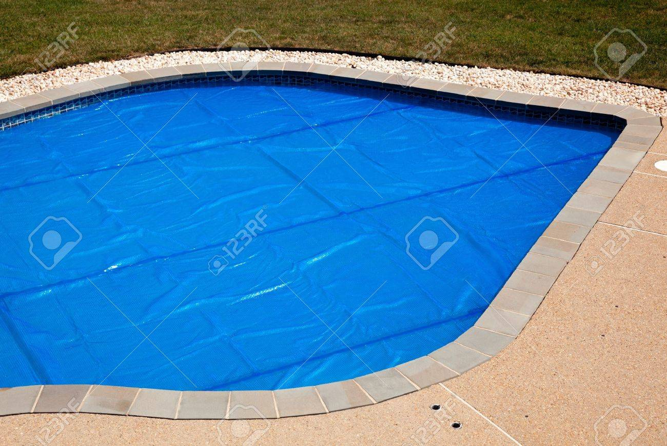Bubble Wrap Like Pool Cover Pulled Over A Swimming Pool To Keep ...